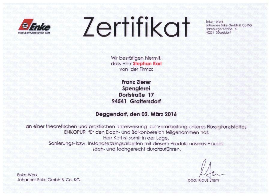 Zertifikat Karl Stephan